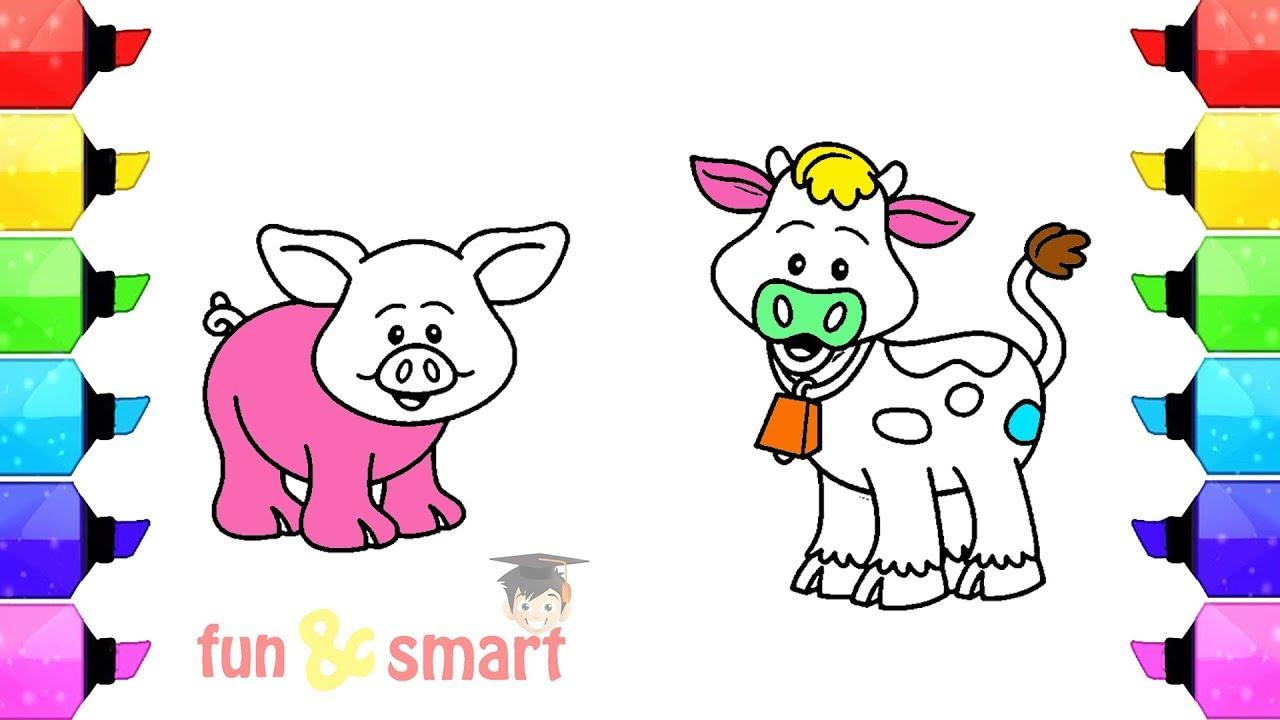 Cara Mewarnai Gambar Binatang Babi Dan Sapi