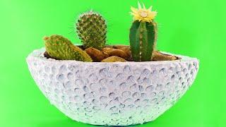 Como hacer macetas de cemento con Plástico de burbujas, ideas caseras creativas paso a paso fácil