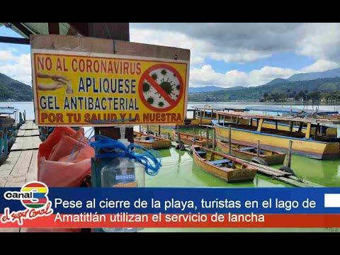 Pese al cierre de la playa, turistas en el lago de Amatitlán utilizan el servicio de lancha