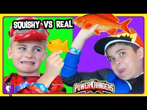 TINY SQUISHY vs REAL CHALLENGE with Power Rangers and Stop Sign Robot by HobbyKidsTV