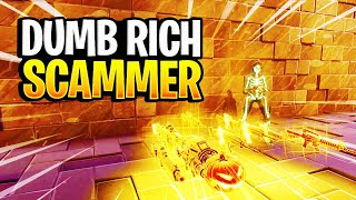 Dumb Rich Scammer Loses His Whole Inventory! (Scammer Gets Scammed) Fortnite Save The World