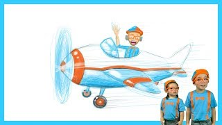 Blippi Airplane Drawing for Kids by Fans