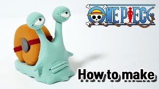 Repeat youtube video 클레이로 원피스 '전보벌레' 만들기 - 電伝虫/Making One Piece Den Den Mushi air dry clay figure tutorial