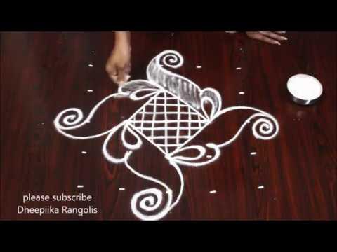 very easy rangoli design with 5 dots  small daily kolam designs latest rangoli designs 2018