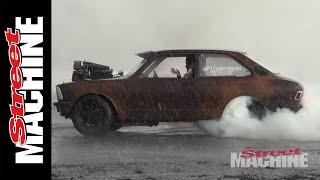 V8 Corolla Does A Rain Burnout