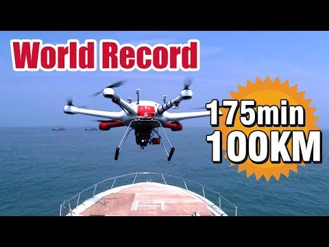 World Record: 175 mins flight time and 100 KM range