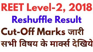 Reet Level 2 Reshuffle Cut off 2018 All Subject | रीट लेवल 2 रिसफल Cut-off Marks जारी