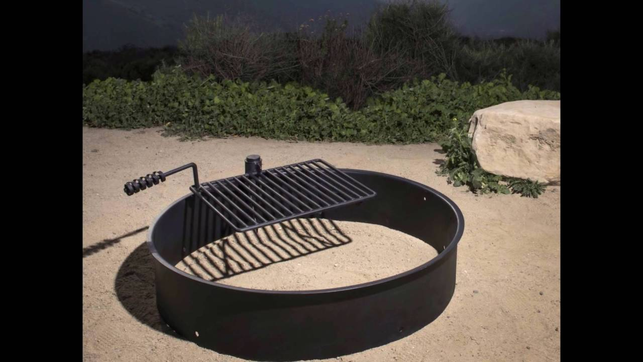 review  36 steel fire ring with cooking grate campfire pit park grill bbq camping trail