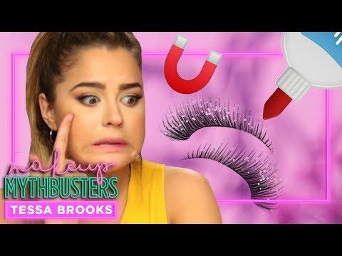 TESSA BROOKS tries making MAGNETIC EYELASHES?!   Makeup Mythbusters