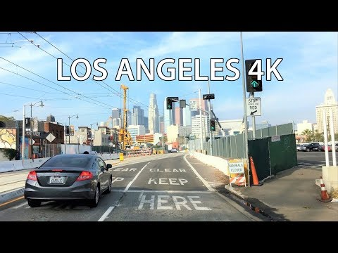 Driving Downtown - LA's Skyline 4K - Los Angeles California USA