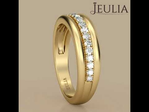 Jeulia GoldTone Round Cut Created White Sapphire Mens Wedding Ring