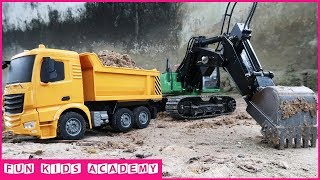 Construction Trucks for Children with CAT trucks and JCB Excavator | Excavator videos for kids