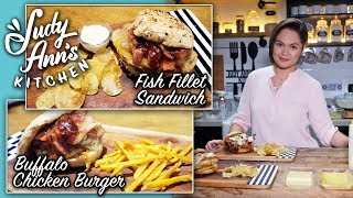 [Judy Ann's Kitchen 10] Ep 2 : Buffalo Chicken Burger and Fish Fillet Sandwich | Valentine's Paandar