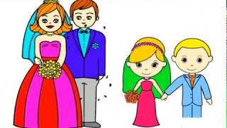 Draw the bride and groom cute - Нарисуйте невесту и жениха милой