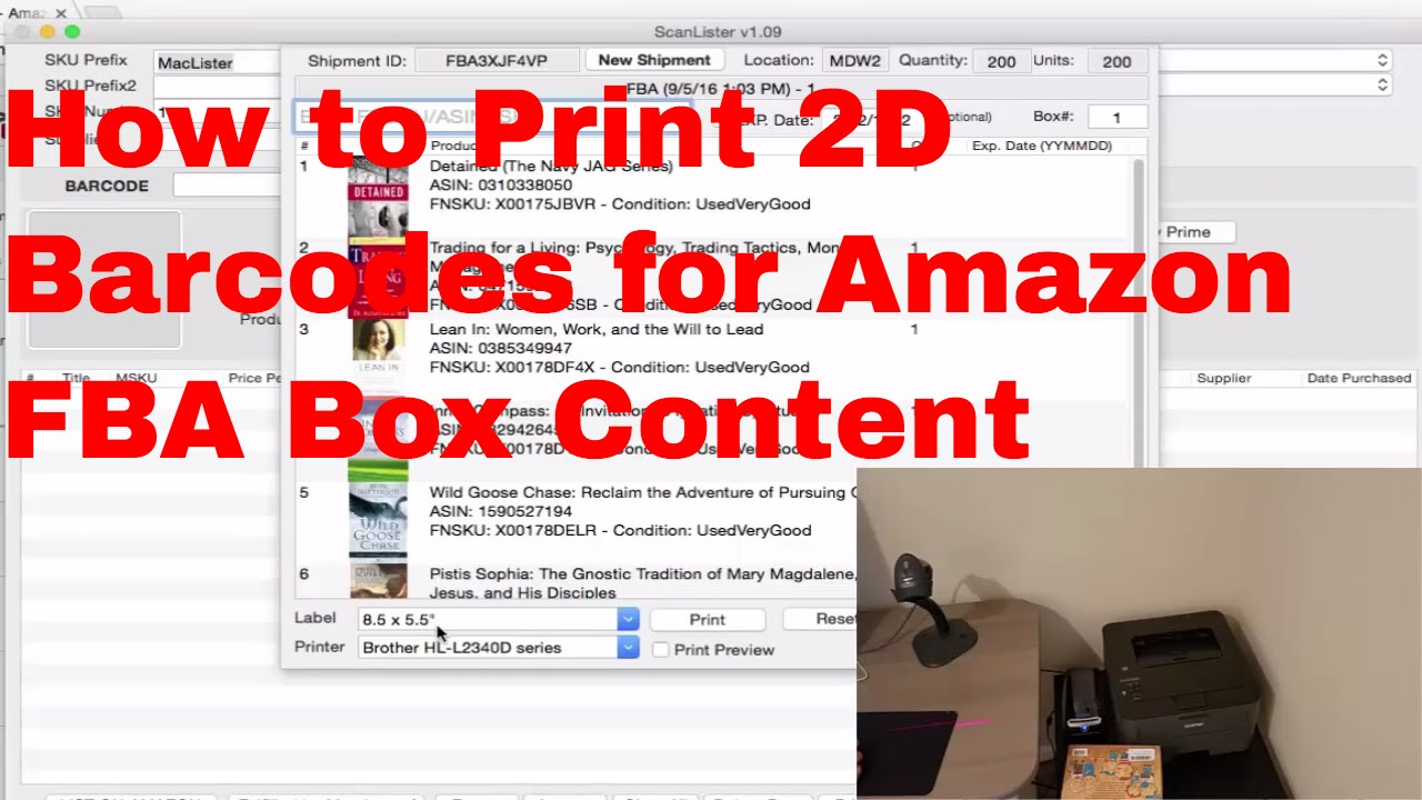 How to Print 2D Barcode Label for Amazon Box Content