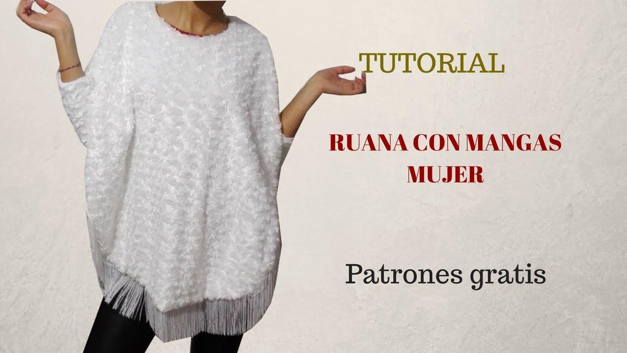 DIY Ruana con mangas mujer - YouTube