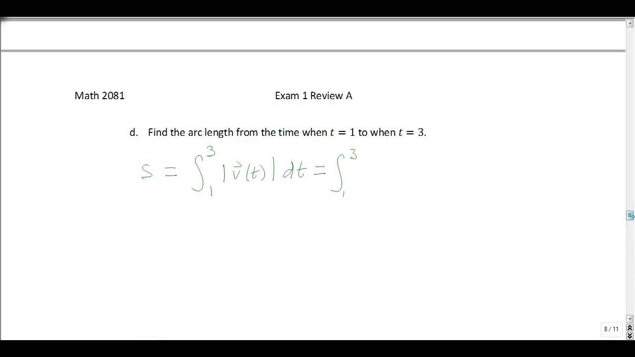 Multivariable Calculus Exam 1 Review Problems