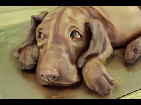 Kricky Cake Decorating Airbrushed Realistic Vizsla Dog Cake