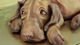 Kricky Cake Decorating: Airbrushed realistic vizsla dog cake tutorial 720p
