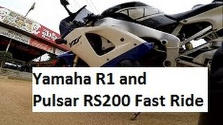 Sunday Ride on Yamaha R1 and Pulsar RS200 - Hyderabad, India.