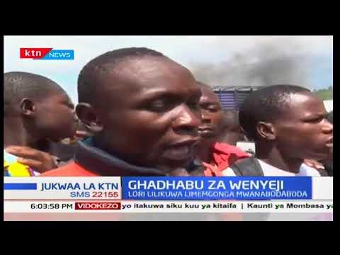 Download Wenyeji Migori wateketeza lori baada ya kugonga mwanabodaboda