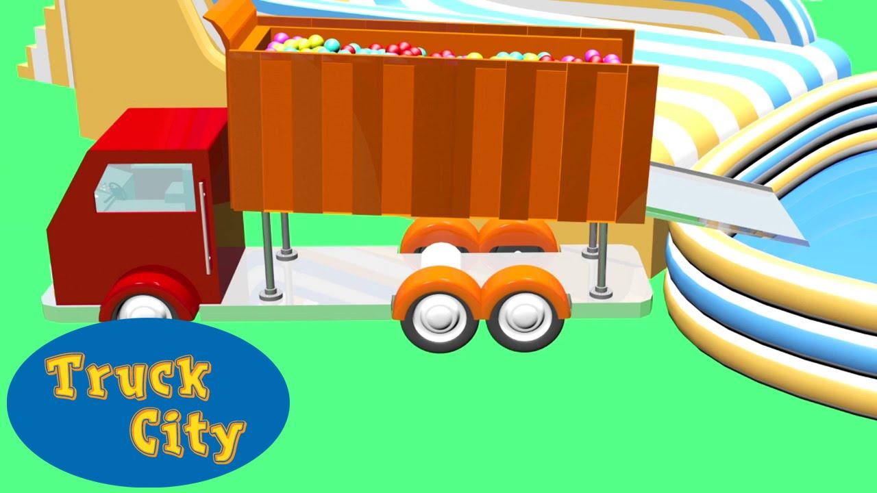camion de volteo construccin piscina a pelotas ciudad de camiones juegos de construccin youtube
