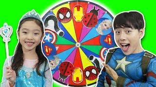 슈퍼히어로 마법 룰렛이 나타났어요!! 엘사 아이언맨 캡틴아메리카 변신놀이 Superhero Magic Wheel Costumes- 마슈토이 Mashu ToysReview