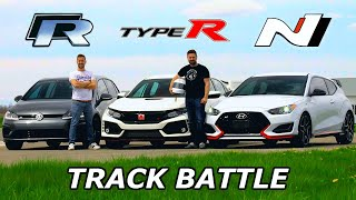 2019 VW Golf R vs Civic Type R vs Veloster N - TRACK REVIEW // DRAG RACE & LAP TIMES