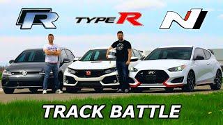 2019 VW Golf R vs Civic Type R vs Veloster N - TRACK REVIEW // DRAG RACE & LAP TIMES