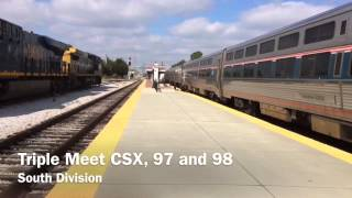 [HD] Meteor faceoff!! Amtrak 97/98, CSX at the station.