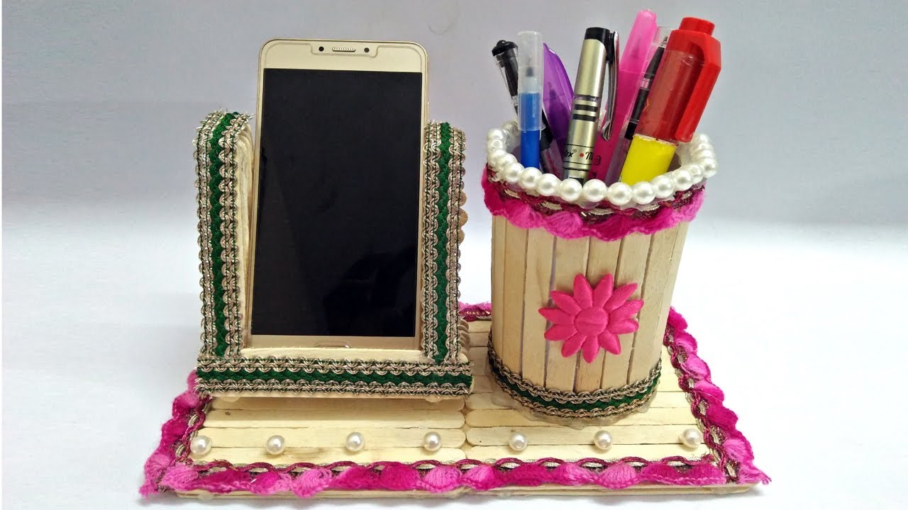 Diy How To Make Pen Stand And Mobile Holder With Ice Cream Sticks
