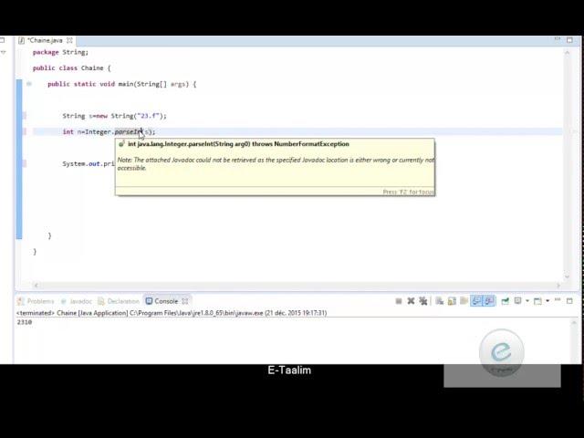 Java : Conversion String vers type primitif
