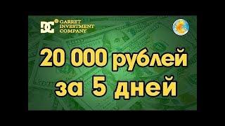 Garret Investment Company ПРОЕКТ ПРИНЕС 20000 РУБЛЕЙ ЗА ДНЕЙ Как заработать деньги в интернете