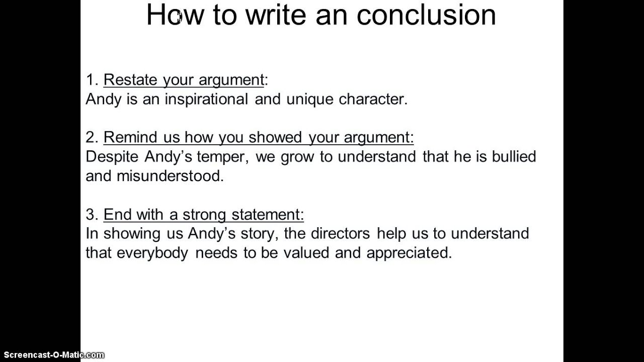 how to write a conclusion Time4writing's teachers share how to write conclusion paragraphs that are effective and well-structured these tips and examples can help with writing a concluding paragraph.