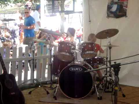 Wyatt, age 5, drumming to Sweet Home Chicago