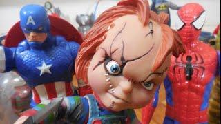 Capitão Captain América Homem Aranha Spider Man X Chucky Boneco Assassino Brinquedos Toys Kids