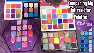 Comparing BLOOD LUST Palette with ALL my Jeffree Star Cosmetics Eyeshadow Palettes