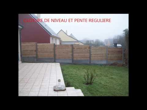 Cloture mixte bois b ton jardi zen paysage cherbourg doovi for Palissade jardin gamma
