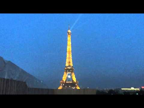 Eiffel Tower night View from Trocadero in Paris