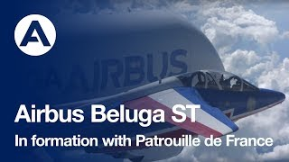 "Formation flight: Beluga and the ""Patrouille de France"""