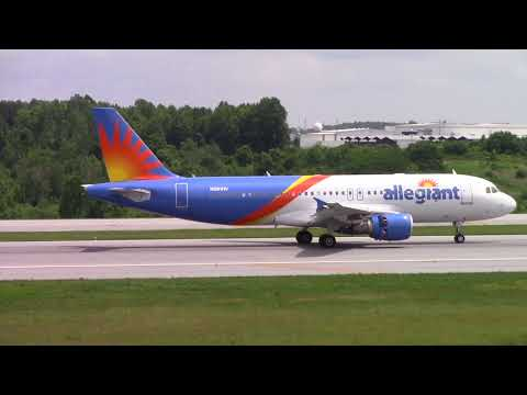 Greensboro Piedmont Triad Int'l Airport Midday Arrivals Allegiant Frontier w Flight Tracking