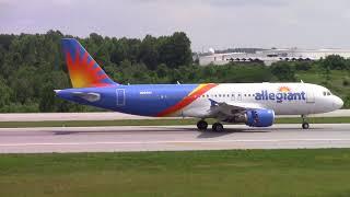 Greensboro Piedmont Triad Int'l Airport Midday Arrivals Allegiant Frontier w Flight Tracking thumbnail