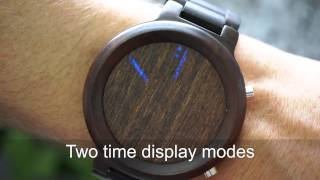 Kisai Blade Wood Link LED Watch with Bluetooth Notifications from Tokyoflash Japan