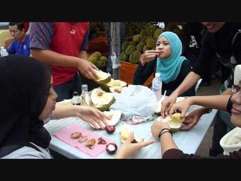 Eating Durian Fruit in Kuala Lumpur, Malaysia