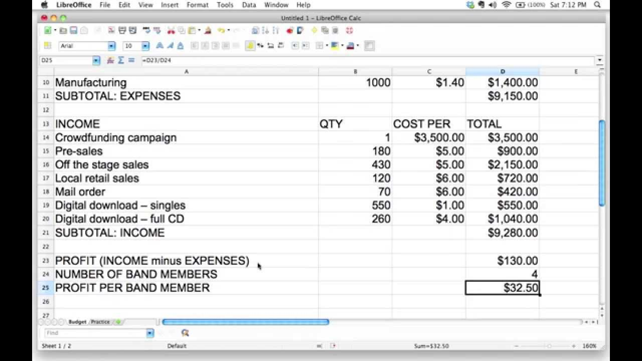 profit sharing plan template - using a spreadsheet to calculate how to divide profits