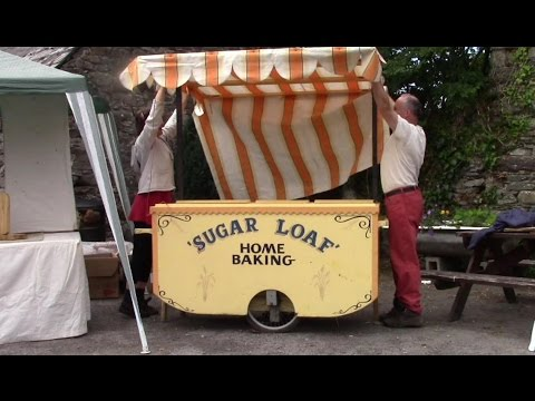 Homemade Two-Wheeled Push Cart Market Stall