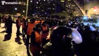 Destroying Barricades during Ukraine's EuroMaidan. December 11, 2013. Kyiv, Ukraine.