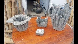 Maceteros porta velas, adornos,  con cemento y trapos viejos, toallas, vestidos