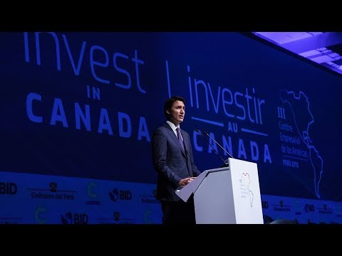 Prime Minister Trudeau delivers remarks at the III CEO Summit of the Americas in Peru
