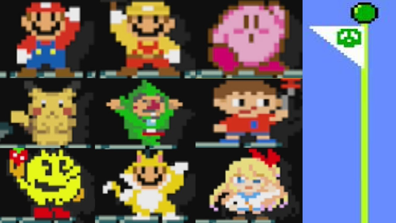 Super Mario Maker: All 153 Costume FLAGPOLE THEMES and Animations (Mystery  Mushroom Suits/Amiibos)